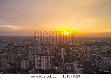 A view over the big asian city of Bangkok , Thailand at nighttime