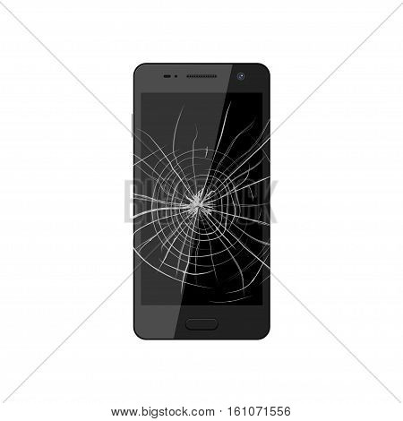 Smartphone with broken screen. Crashed phone monitor requires repair. Vector illustration