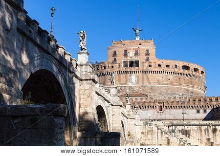 St Angel Bridge And Castle Sant Angelo In Rome