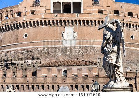 Angel Statue On Bridge Ponte Sant Angelo In Rome