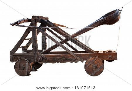 Ancient Wooden Catapult Isolated On White