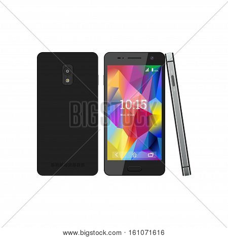 The smartphone with the screen saver. Telephone in the several views: front side rear. Vector illustration