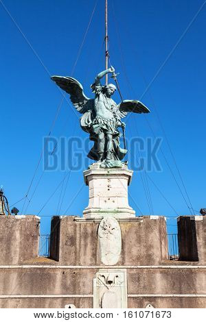 Statue Of Michael The Archangel On Top Of Castle