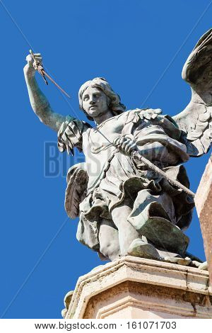 Statue Of Michael The Archangel Close Up On Castle