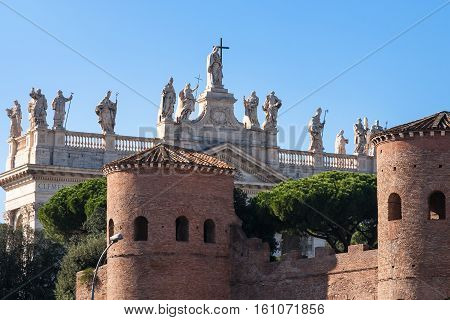 City Wall And Archbasilica Of St. John In Lateran