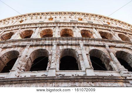 Wall Of Ancient Roman Amphitheater Coliseum