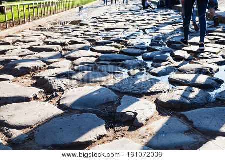 Cobble Stone In The End Of Ancient Appian Way