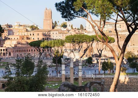View Of Ancient Roman Forums And Road In Rome