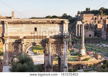 Arch Of Septimius Severus And Forum Of Caesar