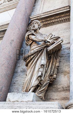 Statue Of Porta Del Popolo In Rome City