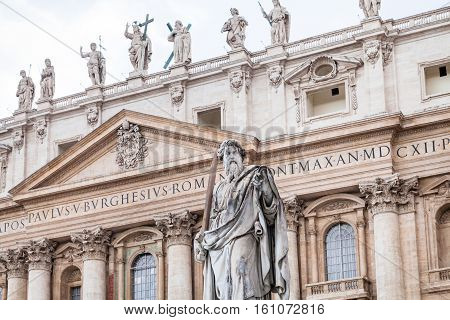 Statue Paul The Apostle In Front Of Basilica