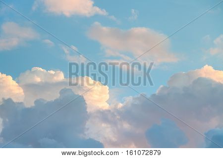 blue sky with sunset clouds in autumn evening in Rome