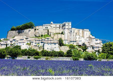 Grignan with lavender field, Departement Drome, Rhone-Alpes, France