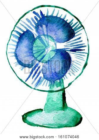 watercolor sketch of blue electric fan on white background