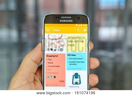 MONTREAL CANADA - JUNE 23 2016 : Google Keep notes and lists application on Samsung S7 screen. The app is a note taking service developed by Google.