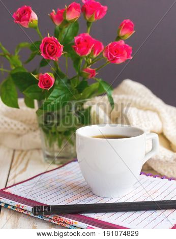 Warm Knitted Plaid, Coffee, Notebook And Pensil