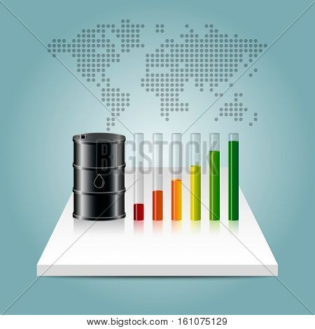 Oil Industry Concept. Oil Price Growing Up Graph With World Map Background.