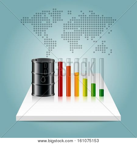 Oil Industry Concept. Oil Price Falling Down Graph With World Map Background.