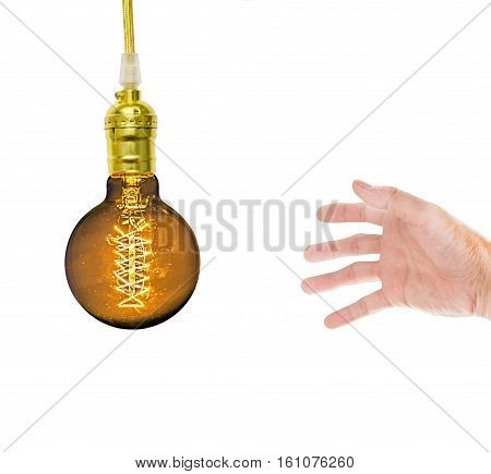 a Hand with Incandescent lamp on a white background