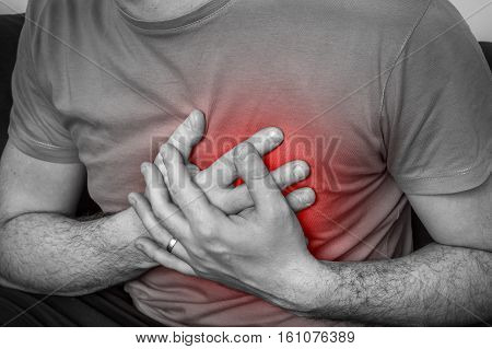 Man Having Chest Pain, Heart Attack - Black And White