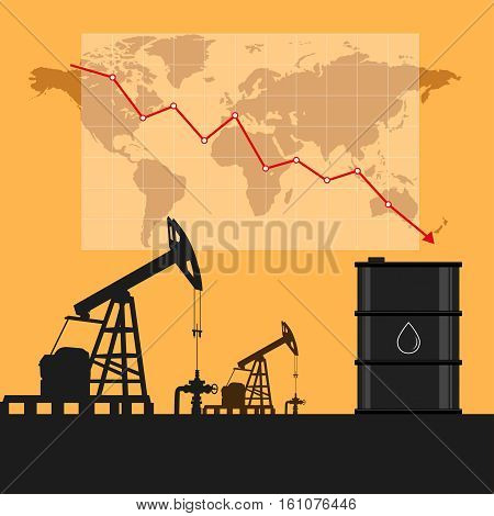 Oil Industry Concept. Oil Price Falling Down Graph And Chart With World Map Background.