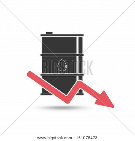 Oil Price Concept. Oil And Arrow Falling Down Icon.
