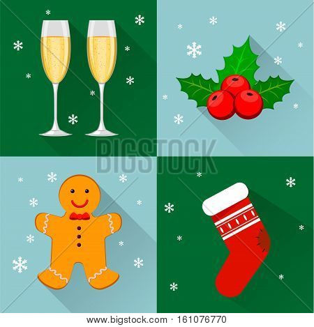 Merry Christmas and Happy New Year set of four icons. Two glasses of champagne holly berry Christmas stock and gingerbread man. Snowflakes on background. Flat modern style