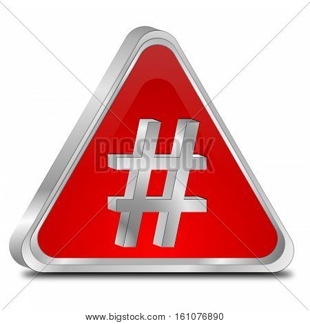 red Hashtag Button on white background - 3D illustration