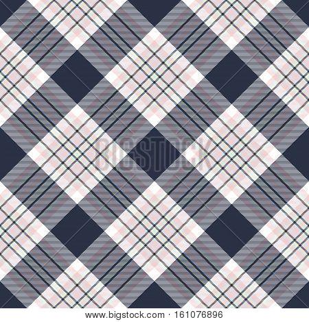 Check diagonal plaid seamless pattern. Vector illustration.