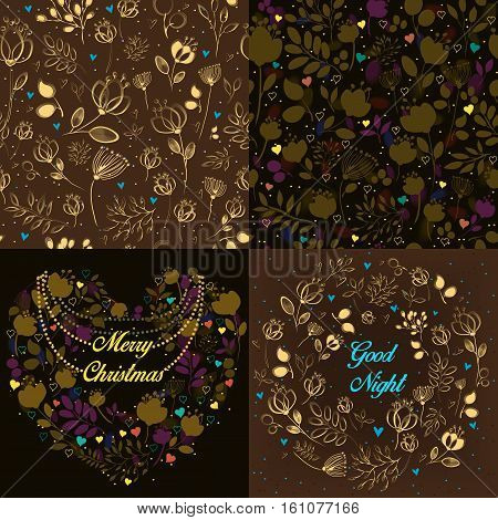Brown festive cards with floral heart round and seamless patterns. Heart with necklace and text Merry Christmas. Ring with text Good night. Delicate silhouettes of flowers and plants. Drawing effect