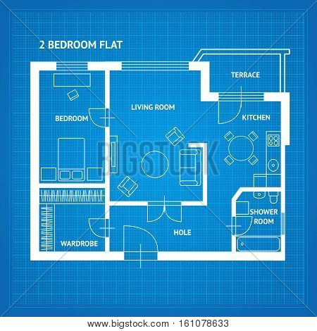 Apartment Floor Plan Blueprint with Furniture Top View. Vector illustration