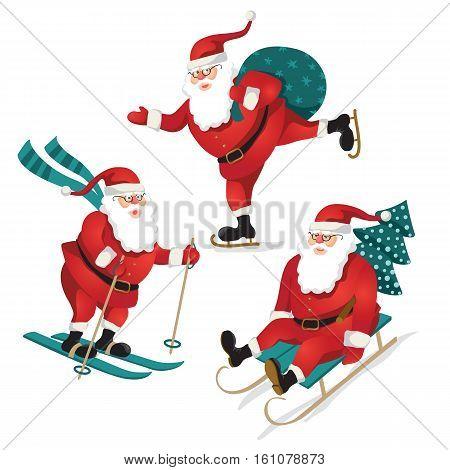 Funny santa set. Christmas greeting vector poster.