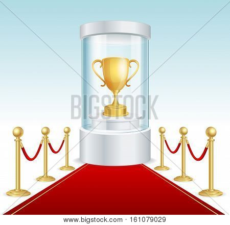 Round Glass Showcase with Golden Cup and Red Carpet. Cylinder for Award Ceremonies. Vector illustration
