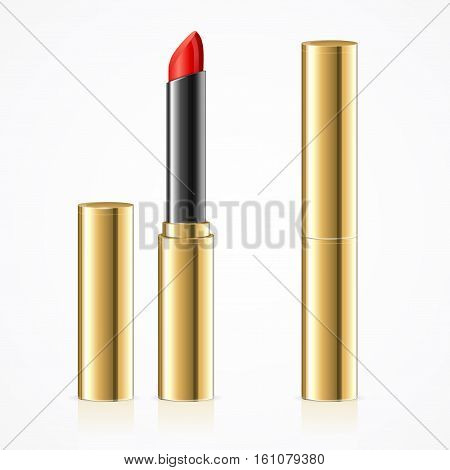 Realistic Red Lipstick in Gold Metal Tube Set Open and Close Version. Decorative Professional Cosmetic for Woman. Vector illustration