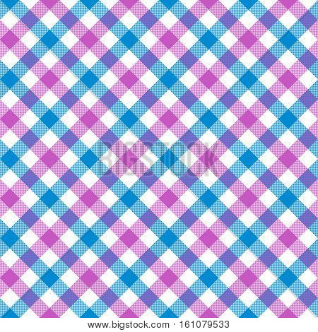 White pink blue check plaid fabric texture seamless pattern. Vector illustration. EPS 10.