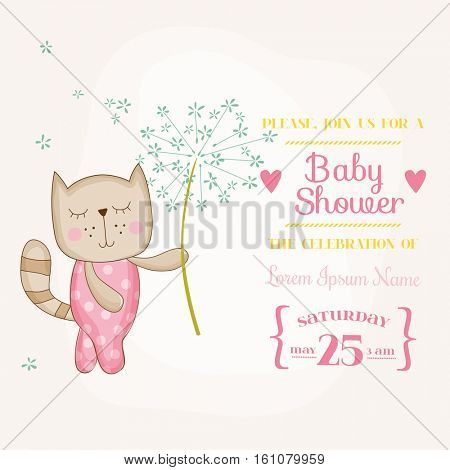 Baby Girl Cat Holding Flower - Baby Shower or Arrival Card - in vector