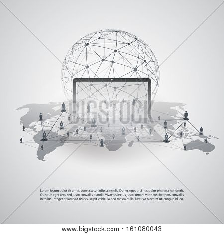 Abstract Cloud Computing and Global Network Connections Concept Design with Transparent Geometric Mesh and Notebook - Illustration in Editable Vector Format