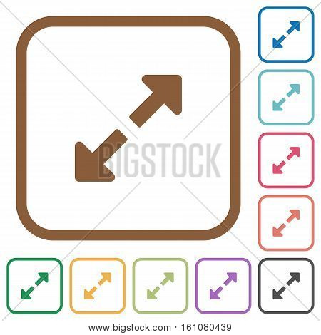 Resize full simple icons in color rounded square frames on white background