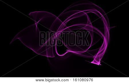Colored purple Light Energy Streak Design Element on Black Background