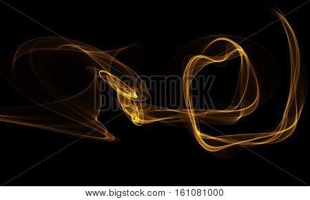 Colored yellow Light Energy Streak Design Element on Black Background