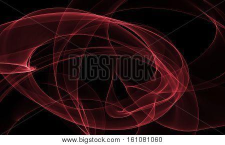 Colored red Light Energy Streak Design Element on Black Background