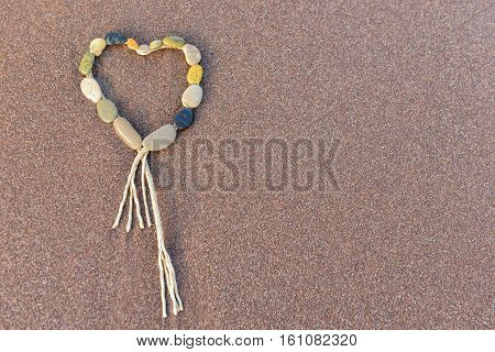 heart, love, poetry, and creative thinking.sea stones