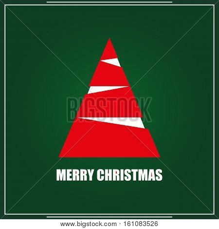 christmas card with red and white fir. vector