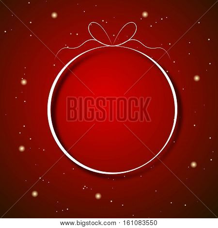 Red abstract background with yellow particles, like snow with with New Year's ball silhouette for use at Christmas or New Year's banners flyers greeting cards. Vector image.