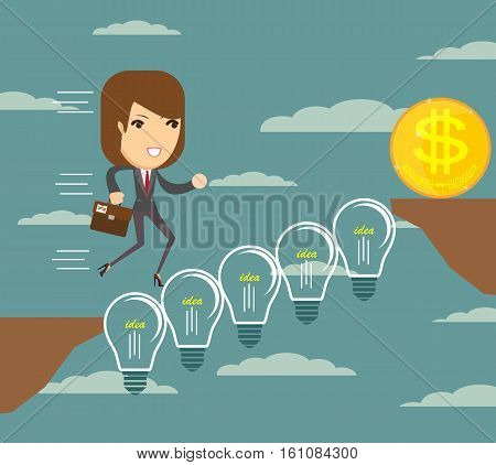 Woman runs over a Lightbulbs bridge .Vector illustration .