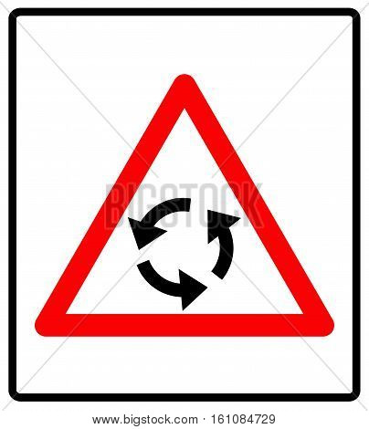 Vector illustration of triangle traffic sign for roundabout. Vector road symbol in red triangle isolated on white.