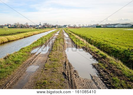 Long and muddy path with puddles between two converging ditches. At the end of the path is the edge of the Dutch village of Hooge Zwaluwe.