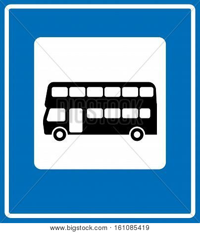 Vector black silhouette London double-decker bus icon in white square isolated on blue background. Vector stop bus station symbol for road, traffic, public places, parking