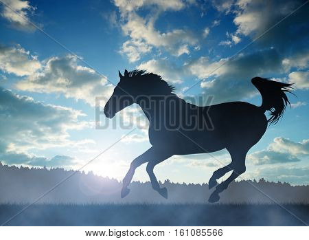 Silhouette of a horse in gallop at sunset