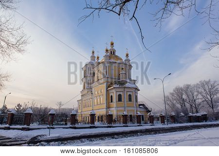 Russian church at sunset in winter season